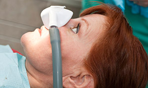 Person undergoing nitrous oxide treatment