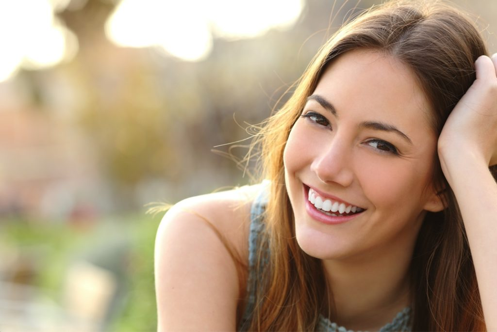 Woman with perfected smile